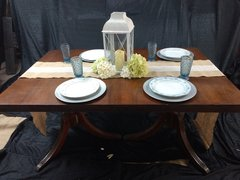 Vintage Square Dark Stained Dining Table