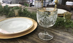 Gold & White Detailed Dinner Glass