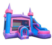 Modular Pink Castle Slide Bounce House Combo