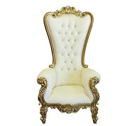Throne Chair – Beige & Gold