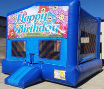 Happy Birthday Flowers Blue Funhouse    15ft x15ft