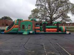 Tropical Dual Slide & Splash, 13ft x 13ft Jumper w/ inside basketball, & 26ft Obstacle Course WET Combo