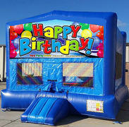 Happy Birthday Balloons Blue Funhouse  15ft x15ft