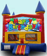 CPU - Happy Birthday Balloons Colorful Castle w/ inside basketball goal 15ft x 15ft