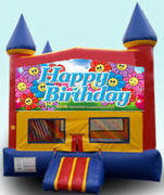CPU - Happy Birthday Flowers Colorful Castle w/ inside basketball goal 15ft x 15ft