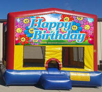 Happy Birthday Flowers Colorful Funhouse 15ft x 15ft
