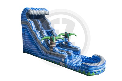 Water slide exterior in the shape of a wave with two three dimesional palm trees in the middle of the slide.