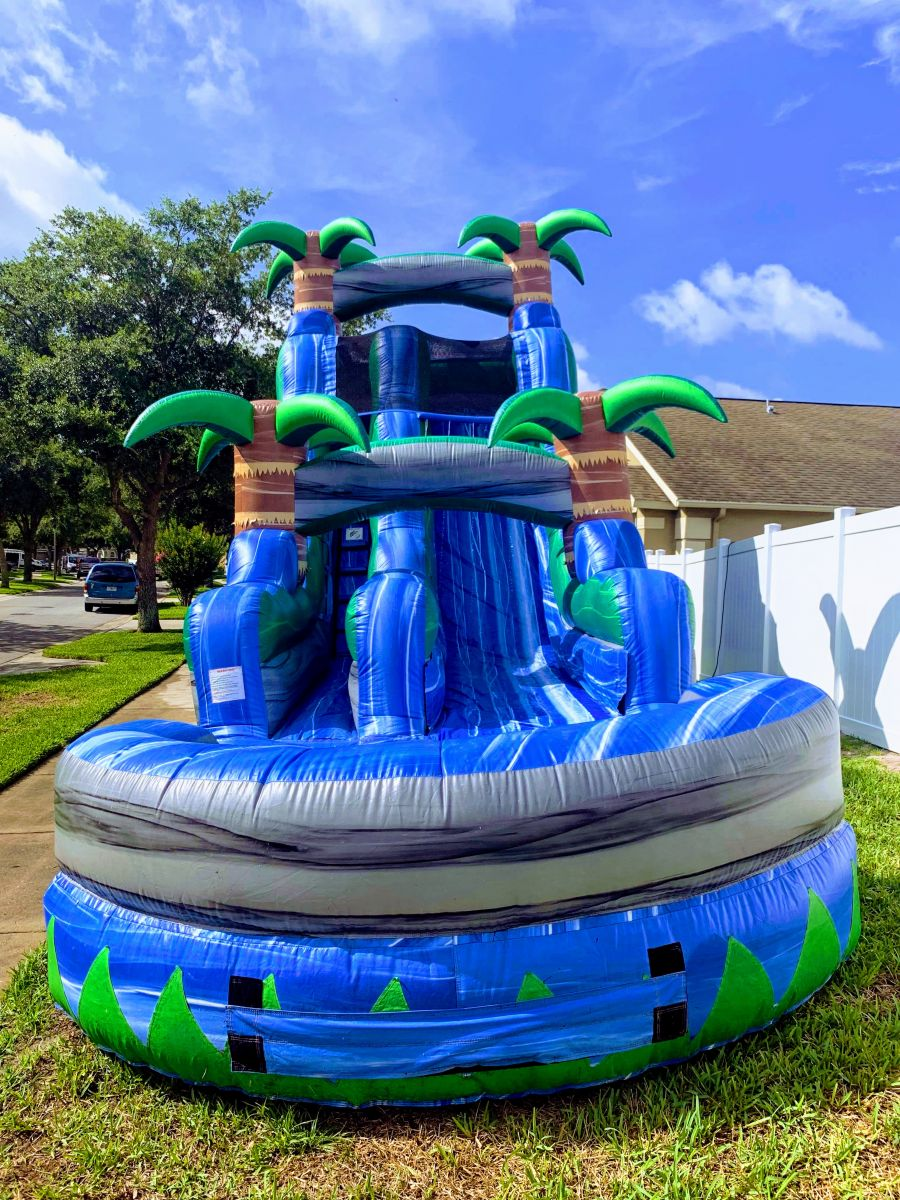 18ft blue tropical paradise water slide rental