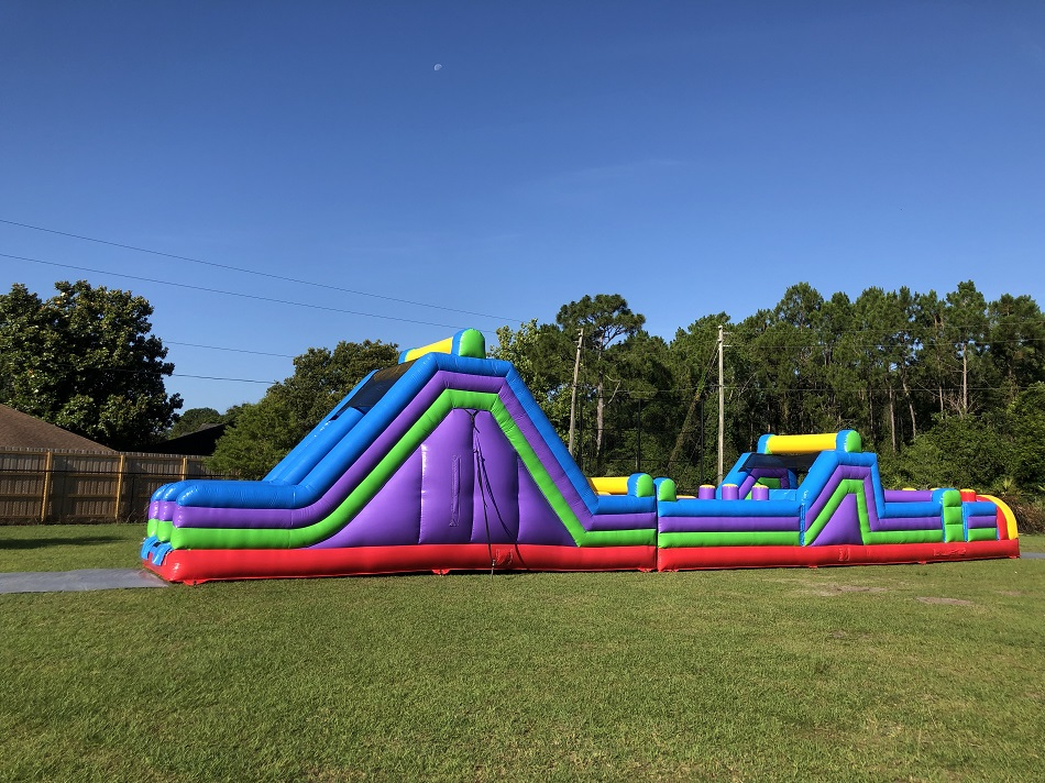 70ft inflatable obstacle course rental sideview