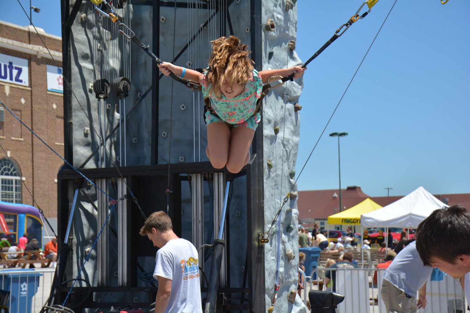 Girl doing a flip on Euro Bungy