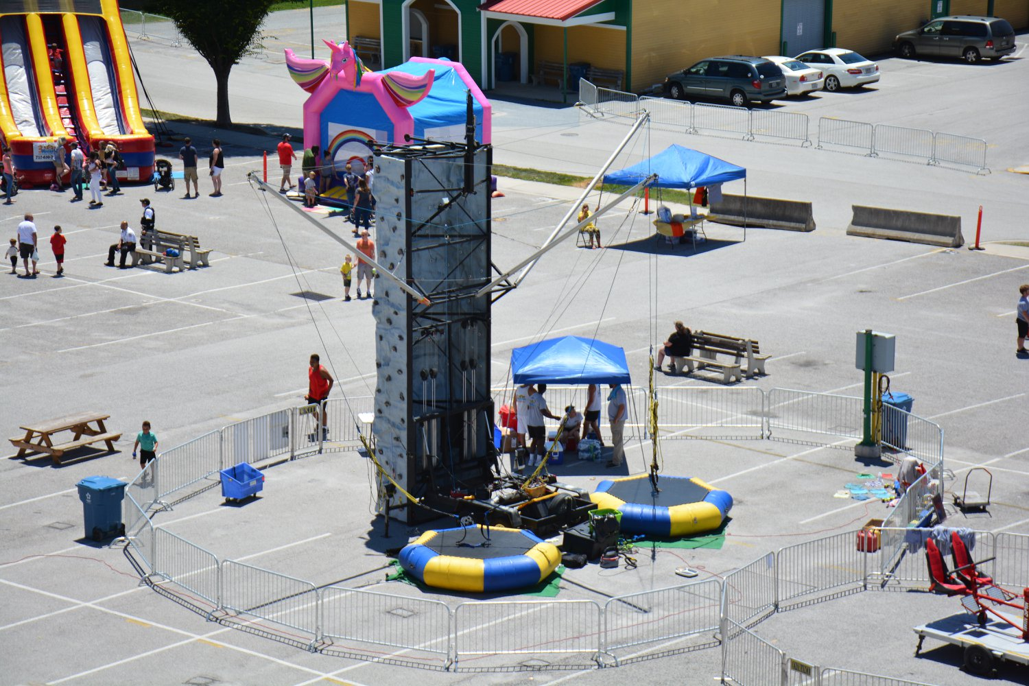 Full View of Rock Wall & Euro Bungy