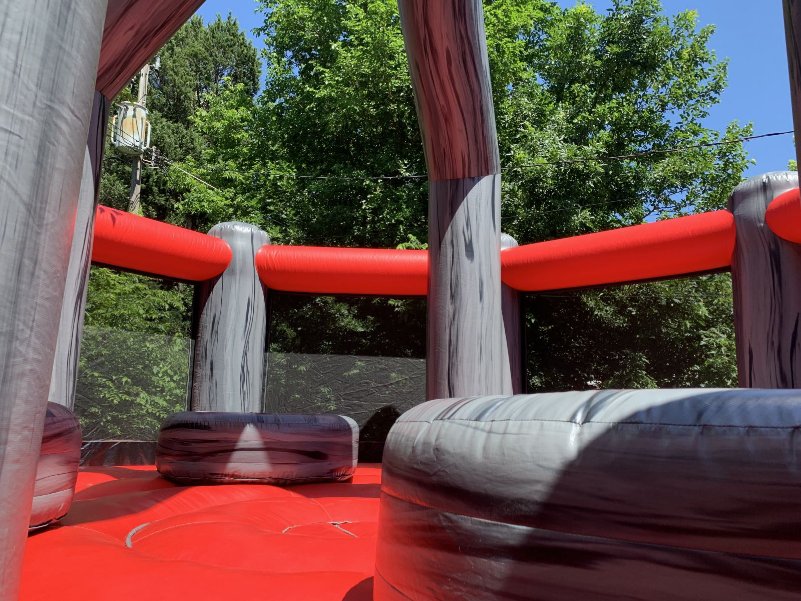 Interior of wrecking ball inflatable challenge game.