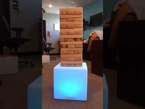 front view of Jenga Game on light up cube