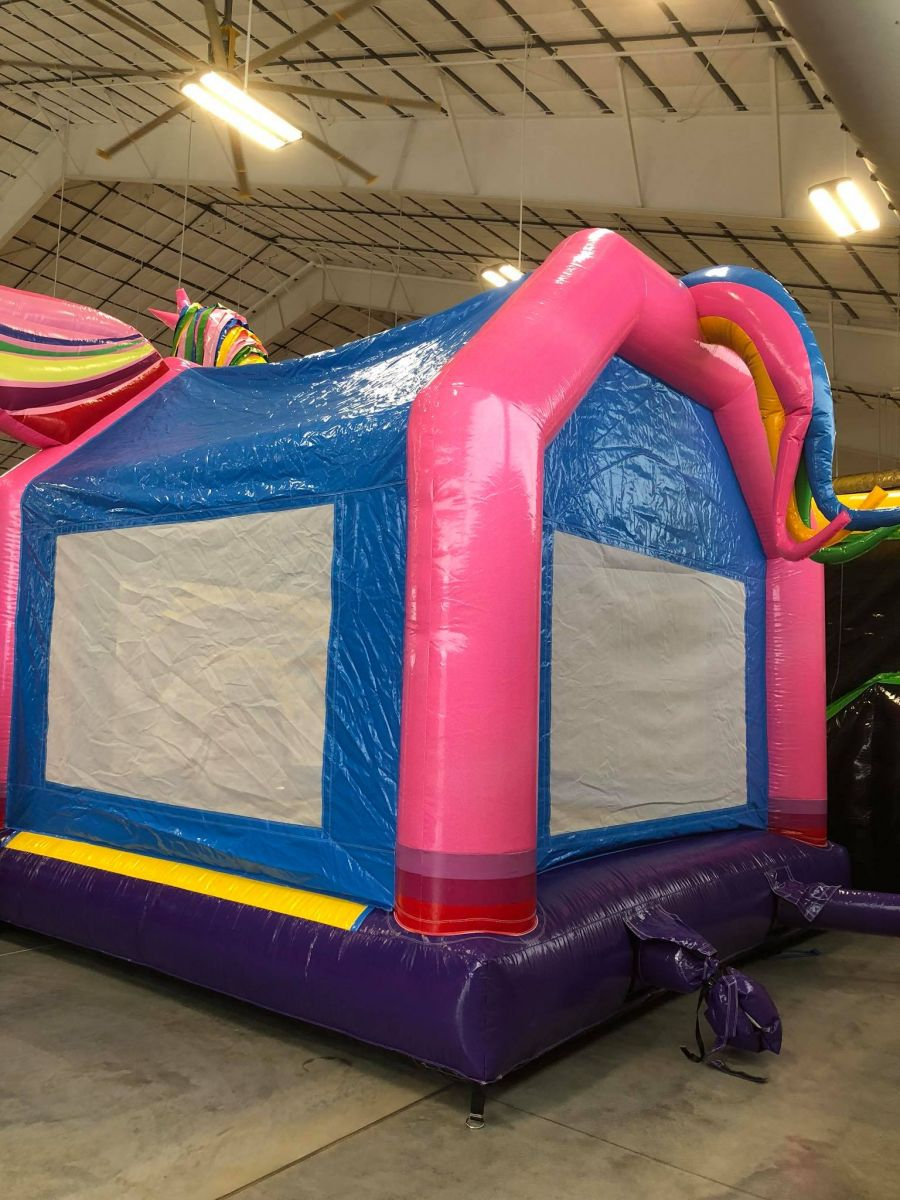 Back View of Unicorn Bounce House