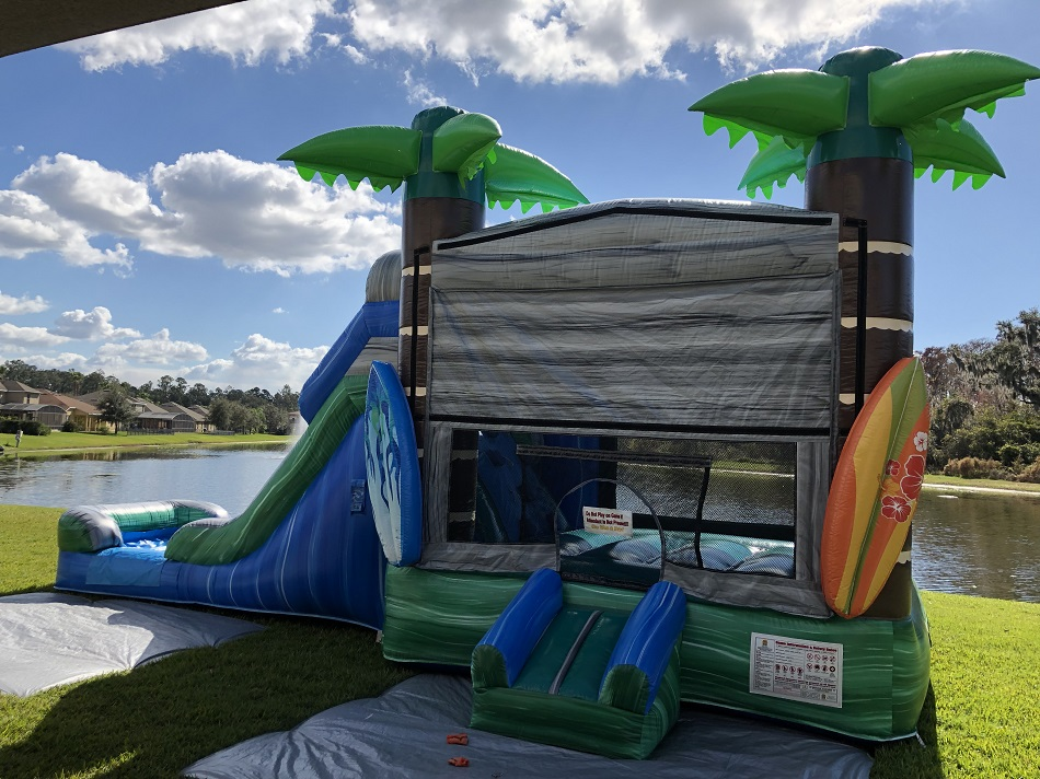 tropical island combo bounce house rental