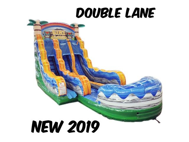 18 Ft. Tiki Plunge Water Slide double lane