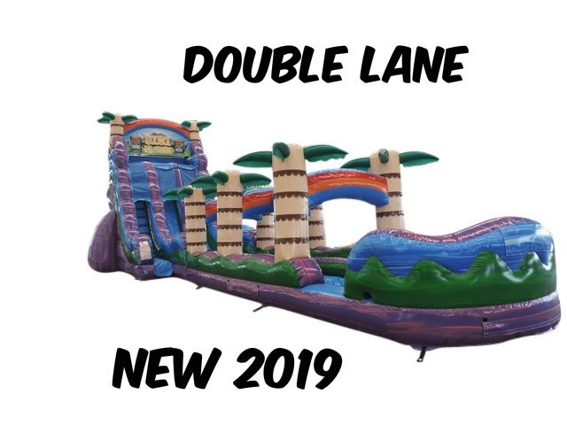 22 Ft. Double Lane Purple hurricane Slide with Slip and Slide