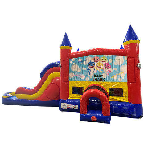 Baby Shark Double Lane Dry Slide with Bounce House
