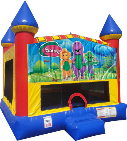 Barney Inflatable bounce house with Basketball Goal