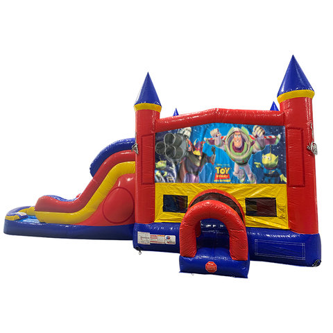Buzz Light Year Double Lane Water Slide with Bounce House