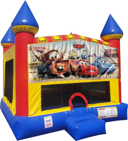 Cars Inflatable bounce house with Basketball Goal