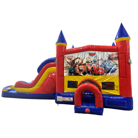 Cars Double Lane Dry Slide with Bounce House