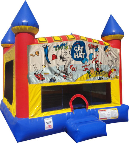 Cat in the Hat Inflatable bounce house with Basketball Goal