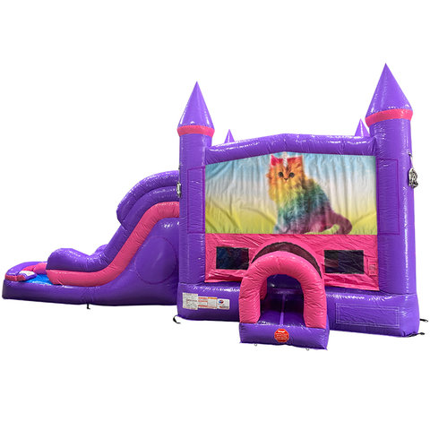 Caticorn Dream Double Lane Wet/Dry Slide with Bounce House