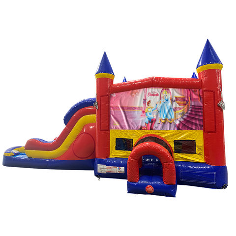 Cinderella Double Lane Water Slide with Bounce House