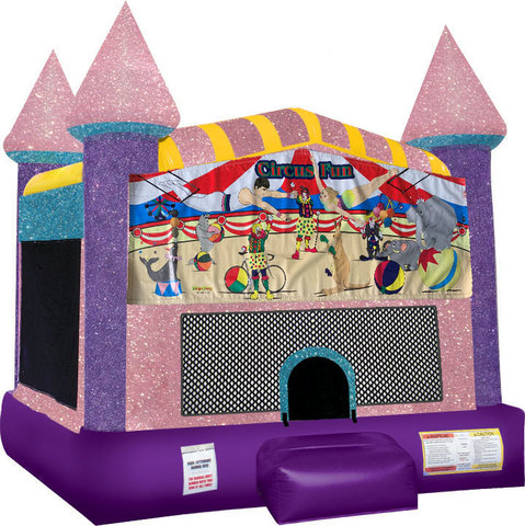 Circus Fun bounce house with Basketball Goal Pink