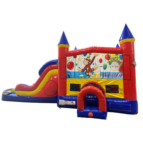 Curious George Double Lane Dry Slide with Bounce House