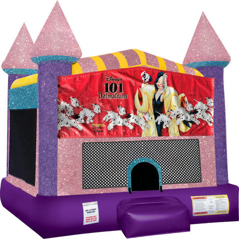 Dalmations 101 bounce house with Basketball Goal Pink
