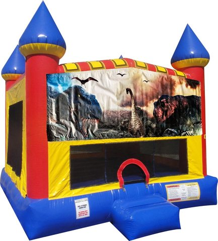 Dinosaurs (2) Inflatable bounce house with Basketball Goal