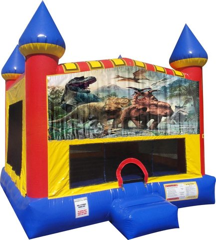 Dinosaurs 3 Inflatable bounce house with Basketball Goal