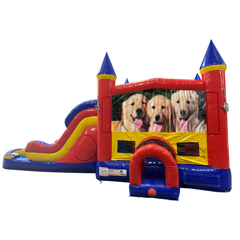 Dogs Double Lane Water Slide with Bounce House