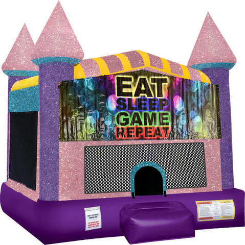 Eat, Sleep, Play Games Inflatable Bounce House with Basketball Goal Pink