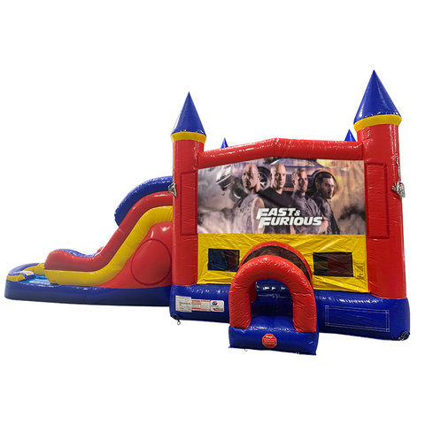 Fast and Furious Double Lane Water Slide with Bounce House