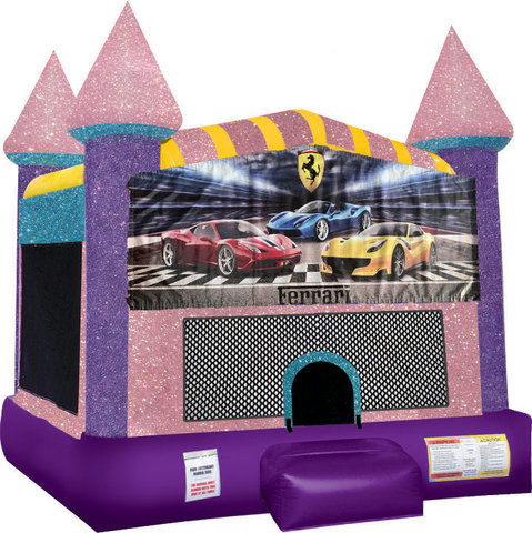 Ferrari Inflatable bounce house with Basketball Goal Pink