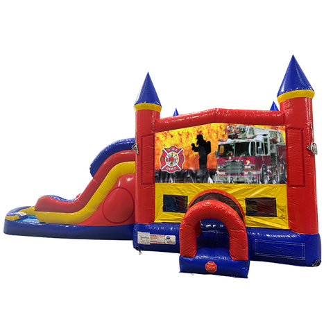 Firemen Fire Truck Double Lane Water Slide with Bounce House