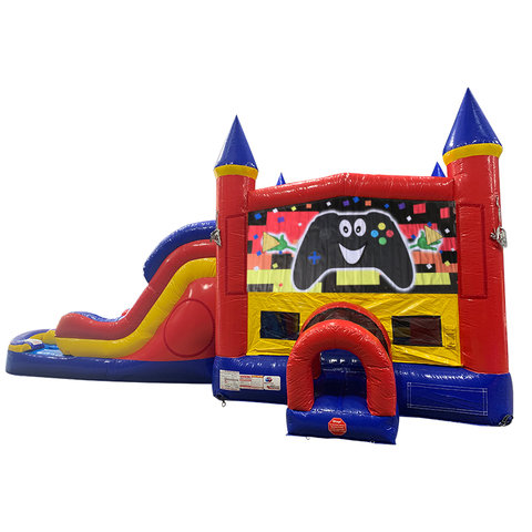 Game Controller Double Lane Dry Slide with Bounce House
