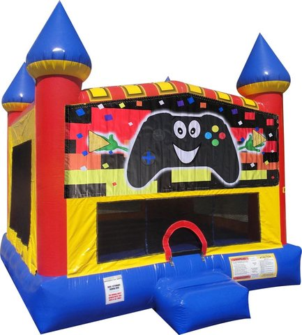 Game Controller Inflatable bounce house with Basketball Goal