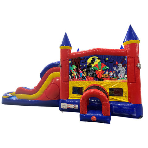 Halloween Double Lane Water Slide with Bounce House