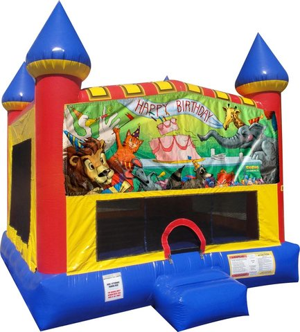 Happy Birthday Animals Inflatable bounce house with Basketball Goal
