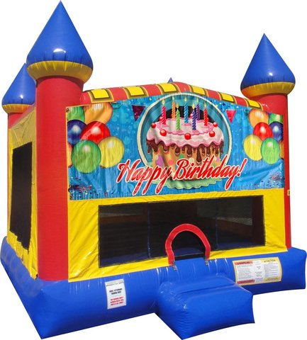 Happy B-Day Cake bounce house with Basketball Goal