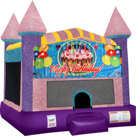 Happy B-Day Cake bounce house with Basketball Goal Pink