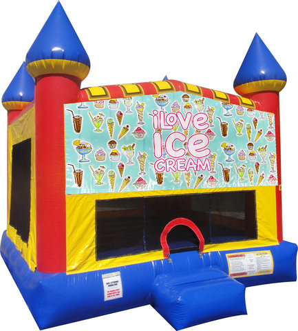 Ice Cream Inflatable bounce house with Basketball Goal
