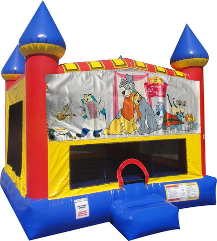 Lady and the Tramp Inflatable bounce house with Basketball Goal