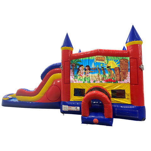 Luau Double Lane Dry Slide with Bounce House