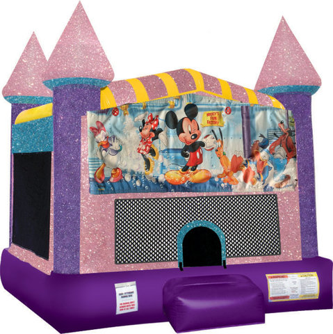 Mickey Mouse Inflatable bounce house with Basketball Goal Pink