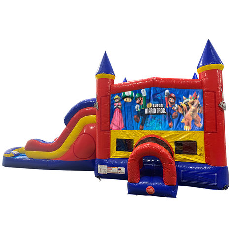 Super Mario Brothers Double Lane Dry Slide with Bounce House